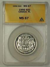1956 Canada Half Dollar 50c Silver Coin ANACS MS-67 Gem PL Proof-Like