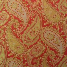 P KAUFMANN PAINTERLY PAISLEY POPPY RED GOLD JACQUARD UPHOLSTERY FABRIC BY YARD