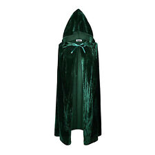 UK Velvet Hooded Cloak Cape Witchcraft Gothic Medieval Vampire Halloween Costume