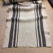 100% linen fabric 340gsm French grey green stripes sack vintage pattern