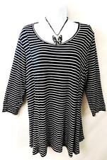 Maurices black white striped spandex stretch plus size top 3 , 3X