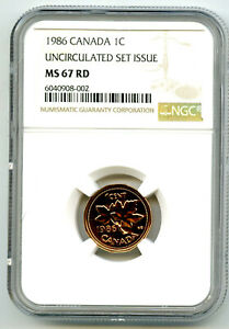 1986 CANADA CENT NGC MS67 RD COPPER UNCIRCULATED SET ISSUE COIN POP2 PENNY