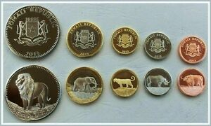 SOMALIA UNC SET OF 5 COINS 5 10 25 50 100 SHILLINGS 2013 , AFRICA ANIMALS