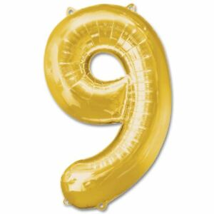 9 Number Gold Inflatable BALLOONS Birthday Wedding Anniversary Party BALOONS