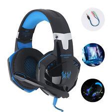 EACH Gaming Kopfhörer Headset mit Mikrofon 3,5mm Stereo USB für PC Laptop PS4 DE