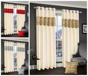 Luxurious Diamante Pair Curtains Ready Made Ring Top Latte Red Silver Bed Room