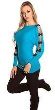 Koucla Longpullover Fledermaus Pullover Sweater mit Schleifen
