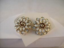 Vintage Coro Screwback Earrings White Enamel Flowers with Gold Accents