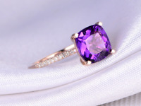 14k real rose gold 9m Cushion amethyst Solitaire Diamond Engagement Wedding Ring