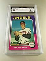 NOLAN RYAN (HOF) 1975 Topps #500 GMA Graded 6 EX-NM