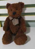 RUSS BERRIE BYRON BROWN TEDDY BEAR PLAID BOW PLUSH TOY! SOFT TOY 30CM