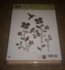 Stampin Up Wood Mount Wildflower Meadow Hummingbird Flowers Large Stamp RETIRED