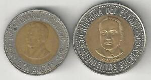 2 BI-METAL COINS from ECUADOR - 100 & 500 SUCRES (BOTH DATING 1995)