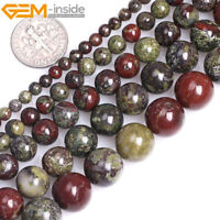 Natural Gemstone Dragon Blood Jasper Stone Round Beads For Jewellery Making 15""