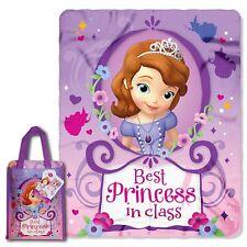 Disney Sofia  Fleece Soft Throw  Nap Blanket in  Carry Bag Great Gift