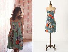 Moulinette Soeurs Anthropologie teal blue floral silk Verdant Slip Dress 4