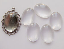 5pz  CABOCHON in vetro ovale 18x25mm cammeo cupola bijoux