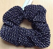 A Black And White Dotty Pleated Satin Scrunchie Ponytail Band / Bobble