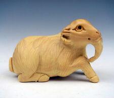 Boxwood Hand Carved Netsuke Sculpture Miniature Seated Goat Antelope #08171511