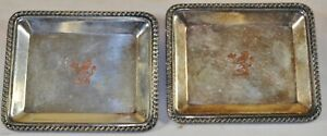 ANTIQUE EXETER SILVER SMALL PIN TRAYS ENGLAND STAND LION CROWN