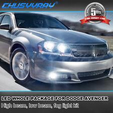 For Dodge Avenger 2013-2014 LED Headlights Kit High Low Fog Light 6000K Bulbs