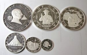 elf Uganda 6 piece 1970 Silver Proof  Papal Visit by Pope Paul VI