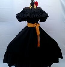 MEXICAN FIESTA,5 DE MAYO,WEDDING BLACK DRESS OFF SHOULDER 2 PIECE W/LARGE SASH