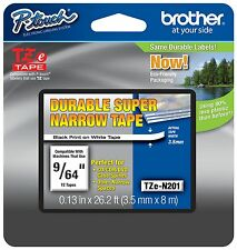 "Genuine Brother P-Touch Tape TZeN201, tzn211, 9/64"" Black on White"