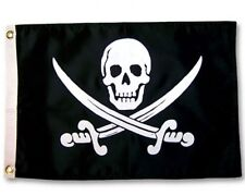 "Jack Rackham Boat Flag 12X18"" New Pirate Jolly Roger Skull And Two Swords"