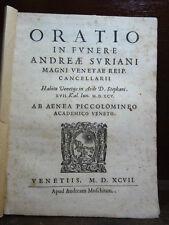 PICCOLOMINI ENEA : Morte ANDREA SURIANO 1597 Gran Cancelliere Repubblica Venezia