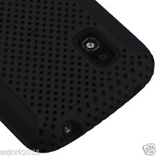 LG Nexus 4 E960 Google Phone Mesh Hybrid Case Skin Cover Black
