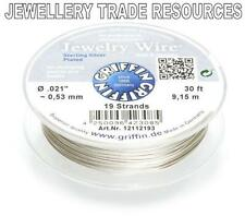 """GRIFFIN SILVER PLATED STEEL BEADING JEWELRY WIRE .021"""" / 0.53mm 30 FT 19 STRAND"""