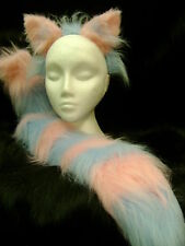 "The Cheshire Cat Fancy Dress Ears And Tail Set Light Pink & Light Blue 34"" Tail!"