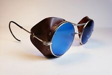 Vintage safety glasses with leather side shields. New lenses! Steampunk goggles.