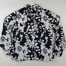 Lands End Womens M Blouse Shirt Button Front Long Sleeve Black/White Linen