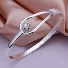 925Sterling Silver Fashion Jewelry Line Flower Clasp Women Bracelet Cuff BY179