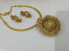 Bollywood fashion jewellery gold tone pearl stone design necklace set earring