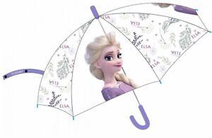 Disney Girls Frozen Elsa Anna Clear Umbrella Brolly Dome School Waterproof Rain