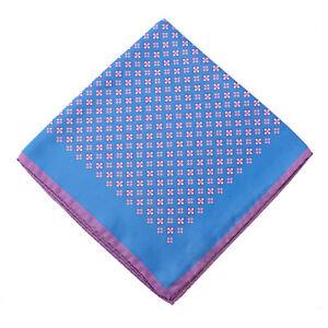 Kiton Blue and Lavender Purple Foulard Medallion Print Silk Pocket Square