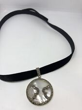 Vintage Deco Sterling Silver Genuine Mother Of Pearl Marcasite Necklace Choker