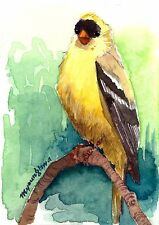 ACEO Limited Edition -Goldfinch on a branch - Art print of an ACEO watercolor