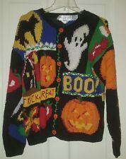 Vtg 90s Halloween Cardigan Sweater Pumpkin Ghost Boo Cat Ugly Eagle's Eye M