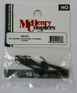 McHenry MCH53 HO-Scale Knuckle Spring Couplers (4)(2pr) IHC/RIV 6-Wheel