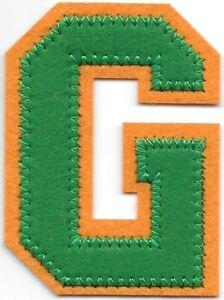 """2 1/2"""" Tall Green Orange Block Letterman's Letter G Felt Patch"""
