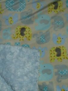 Blankets & Beyond Elephant Plush Furry Baby Blanket Blue Yellow Gray Aqua Soft