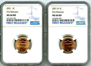 2021 P & D CENT NGC MS66 SHIELD MATCHING 2 COIN LINCOLN LABEL SET FIRST RELEASES
