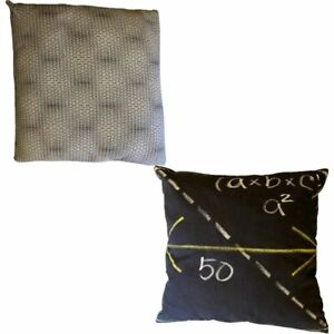 Set of Two Cushion Covers Math Themed 20 x 20 in