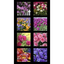 "Rose Tulip Digitally Printed Cotton Fabric Garden Of Life Kona 24""X44"" Panel"