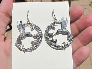 Fabulous & Intricate Superb Sterling Silver Hummingbird Flower Earrings by Som's