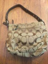 COACH Signature Duffle Hobo Shoulder Bag Khaki Canvas Leather F15067